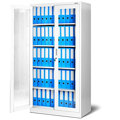 Aktenschrank C012 Glasvitrine Büroschrank Universalschrank Flügeltürschrank Stahlblech Pulverbeschichtung abschließbar 185 cm x 90 cm x 40 cm (weiß/weiß)