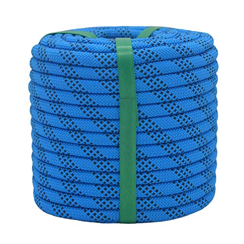 """YUZENET Braided Polyester Arborist Rigging Rope (3/8"""" X 50') Strong Pulling Rope for Climbing Sailing Camping Swings, Blue/Black"""