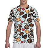 Seamless Pattern Dog Breeds Collection Mens Casual Basic Vintage Active Short...