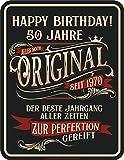 RAHMENLOS Deko Blechschild als Geschenk zum 50. Geburtstag - Zur Perfektion gereift