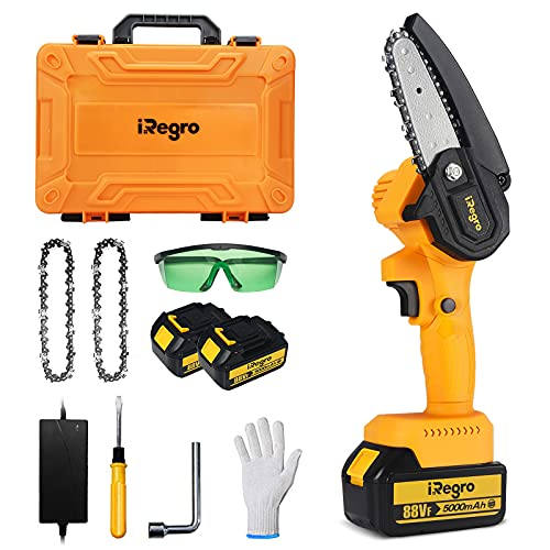 Mini Chainsaw Cordless with 2pcs 5000mAh Rechargeable Batteries, Power Quenched Chain Saw, One-Hand Operated Portable Electric Saw for Tree Branch Wood Cutting with Gloves, Goggles and Storage Case