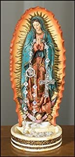 Our Lady of Guadalupe Resin Rosary Relic Holder Figurine, 8 Inch