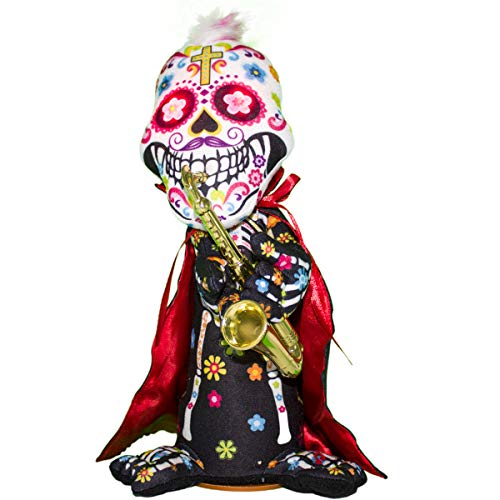 Carnavalife, Mueco Calavera Mejicana , con Capa y Trompeta, En Color Blanco, con Sonido. Decoracin Halloween, Tamao 30cm x 17cm.