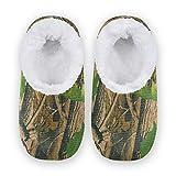 TropicalLife BGIFT Pantuflas de camuflaje con diseño de hojas de árbol, para mujeres y hombres, espuma viscoelástica, cálidas y suaves, forradas con forro polar, para interiores y exteriores, para do