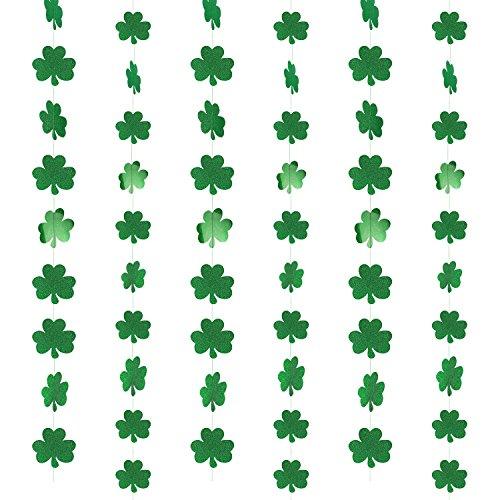 HOWAF San Patricio decoración Trébol Guirnaldas de PVC Colgar decoración para irlandés Fiesta de San Patricio Decoraciones Suministros, 39.37FT, 57Shamrocks