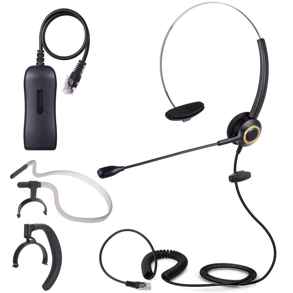 PChero 3 en 1 Auriculares Teléfono Fijo Monoaurale RJ9 con micrófono y Adaptador, con cancelación de Ruido Ideal para oficinas, centros de Llamadas y operadores de telecomunicaciones: Amazon.es: Electrónica