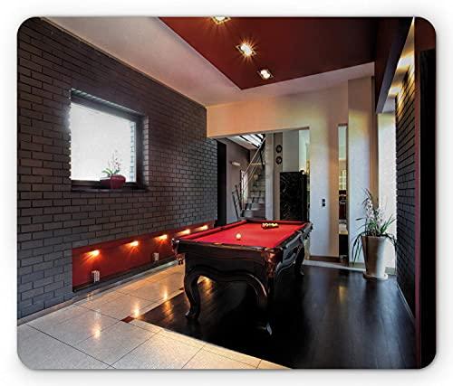 Ambesonne modernes Mauspad, Haus mit Snookertisch Hobby Pool Spiel Flachmöbel Freizeitdruck, Rechteck rutschfestes Gummi-Mauspad, Standardgröße, Rotbraun Weiß