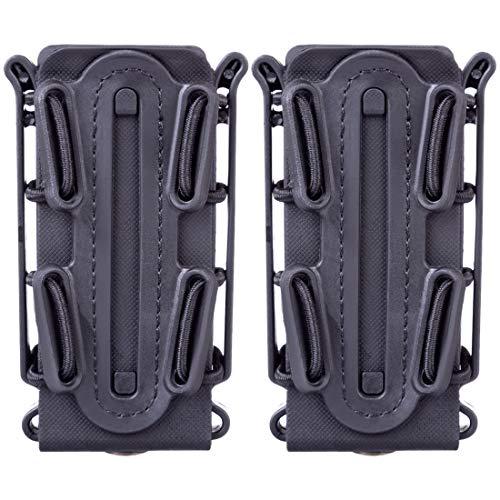 GODNECE Mag Pouch 9mm, Fast Mag 9mm 2 Pièces TPR Flexible Porte Chargeur Molle Tactique pour 9mm Luger/45 ACP Mag (Noir)