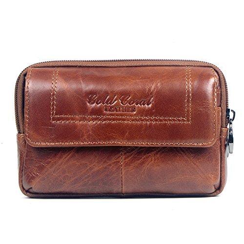 Genda 2Archer Brieftasche für Männer Leder Reißverschluss Geldbörse Tragbare Gürteltasche Hüfttasche Outdoor Tasche