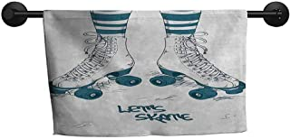 xixiBO Pool Towel W 14 x L 14(inch) More Durable Towel,Retro,Girls Legs in Stripes Stockings and Retro Roller Skates Fun Teen Illustration Print,Teal White