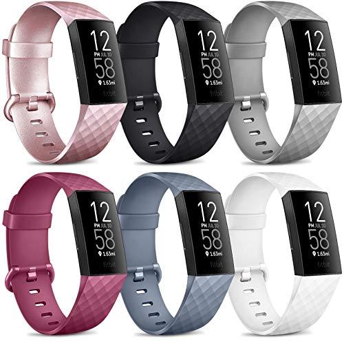 6 Pack Kompatibel für Fitbit Charge 3 Armband/Fitbit Charge 4 Armband, Klassisch Sport Verstellbares Ersatzarmband für Fitbit Charge 4 / Fitbit Charge 3 (C, S)