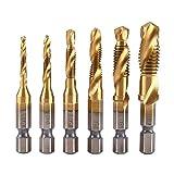 HSS Juego de Brocas para Taladrar, Rosca Métrica Brocas de Titanio Recubiertas con Titanio y Brocas para Madera Plástico Aluminio Cobre 6PCS/Conjunto M3 M4 M5 M6 M8 M10