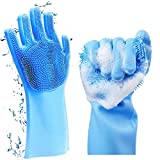Reusable Dishwashing Cleaning Sponge Silicone Gloves, Pair of Scrubber Gloves Heat Resistant for Washing Kitchen, Bathroom, Pet Hair, Car&More(Blue)