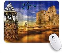 VAMIX マウスパッド 個性的 おしゃれ 柔軟 かわいい ゴム製裏面 ゲーミングマウスパッド PC ノートパソコン オフィス用 デスクマット 滑り止め 耐久性が良い おもしろいパターン (ゴシックスカイキャッスルオールドキャッスル遺跡)