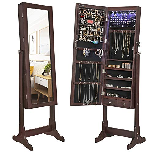 SONGMICS 6 LEDs Mirror Cabinet Armoire, Lockable Free Standing Jewelry Organizer, Large Capacity with 2 Drawers, Espresso, Classic-Design
