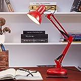 LRQY Lámpara De Arquitecto Regulable con Brazo Articulado Giratorio Lampara Escritorio Lámpara De Mesa, Metal Lámparas De Lectura para Casa Oficina Trabajo Estudiar,Rojo