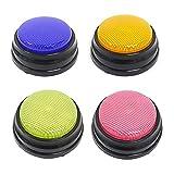 Abarich Botón de Conversación Grabable,Botón de Sonido de Grabación con Recursos de Aprendizaje con Función Led Respuesta Zumbadores Naranja + Azul + Verde + Rosa