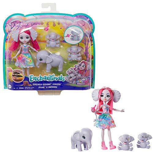 Enchantimals GTM30 - Elefantenfamilie Spielset und Puppen, Spielzeug für Kinder ab 4 Jahren