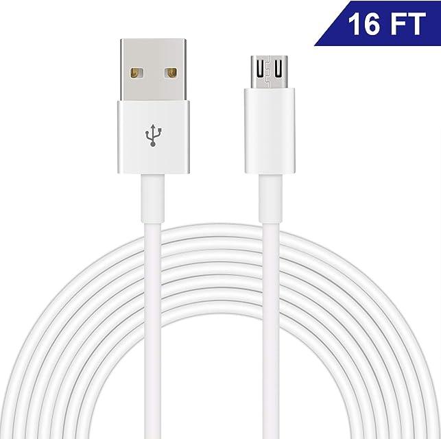 Cable Micro USB de Dericam para cámaras de Seguridad domésticas y teléfonos/tabletas móviles Android 5V 1A 5 metros/16 pies Transferencia de Datos USB 2.0 de Alta Velocidad y Carga rápida Blanco