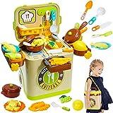 Buyger Kinder Küchenspielzeug Spielküche Zubehör Kinderküche Kochgeschirr Lebensmittel Obst Gemüse Spielzeug Rollenspiele mit Licht und Ton