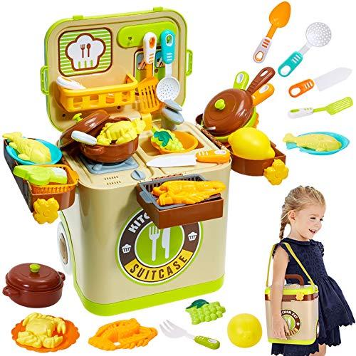 Buyger 3 in 1 Accessori Cucina Cibo Pentole Giocattolo Gioco d'Imitazione per Bambini Bambina 3 Anni, Luce e Musica, Bagaglio