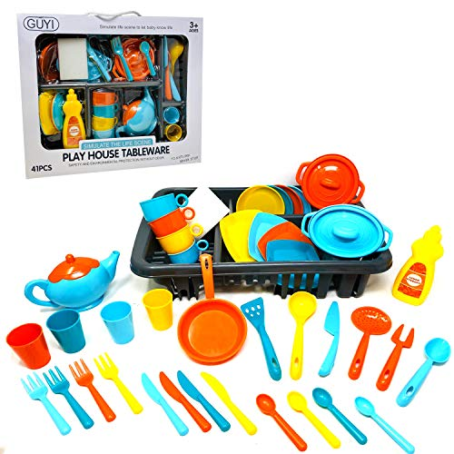 44 PIECES Kids Cooking Chef Kitchen Playset Toys | Cups | Plates | Spatula Spoon Knife Fork | Pan | Pot | Plastic Food | Salt Shaker | Tableware Appliances Pretend Play Set 30 PIECES