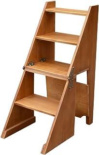 Katxay Taburete multifuncional de madera maciza Taburete doméstico Silla de la escalera de la cocina interior Silla plegable Escalera de 4 capas (Color : Marrón)