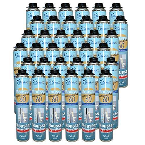DSTOCK60 – Lote de 36 espumas poliuretano expansiva PISTOLABLES – Espuma EXPANSIVA 750 ml – Espuma poliuretano profesional – aislante, pegamento y reboche – Exterior e interior