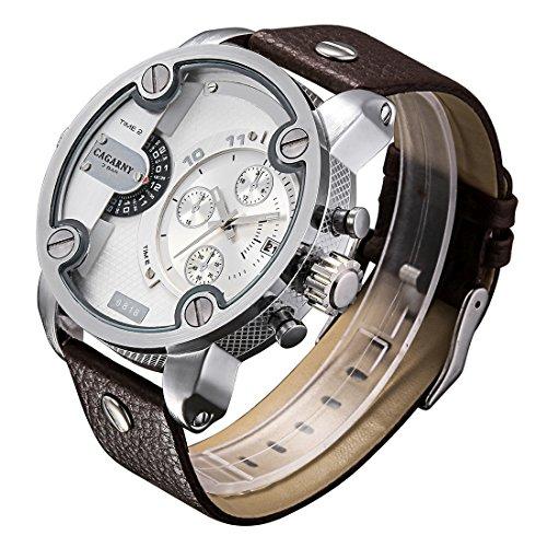 Somviersb Fashion heren horloge moderne stijl grote wijzerplaat dubbele klok quartz uurwerk sporthorloge met lederen band en heren kalenderfunctie (SKU : WA5611ZS)