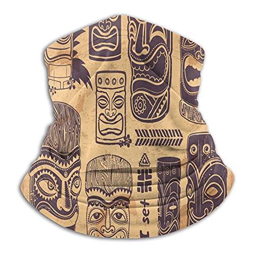 Calentador de cuello Polaina Vintage Tiki Hawaii Tribal Set Mascarilla Para Hombres Mujeres Bandanas Para Pesca Caza Deportes