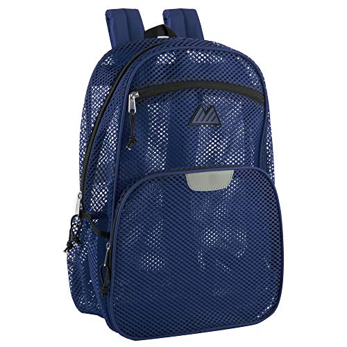 Mesh Backpacks for Adults, School, Beach - Backpack with Reflective Strip (Blue)