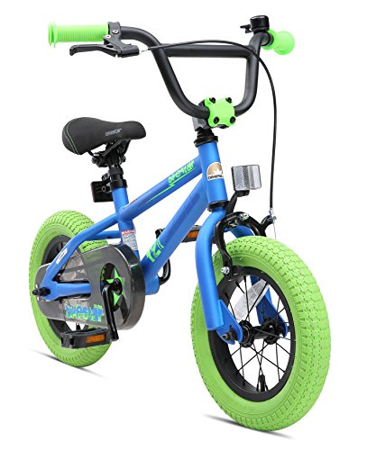 BIKESTAR Kinderfahrrad für Mädchen und Jungen ab 3-4 Jahre | 12 Zoll Kinderrad Kinder BMX Freestyle | Fahrrad für Kinder Blau & Grün | Risikofrei Testen