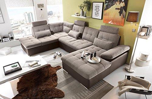 moebel-guenstig24.de Couch Jakarta Wohnlandschaft Sofa Lederlook Schlaffunktion Schlafsofa braun beige Ottomane Links 324 cm