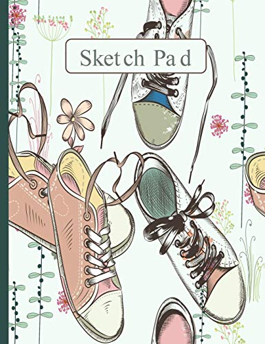 Sketch Pad: Springtime Hipster Sneakers, Cream and Green Background