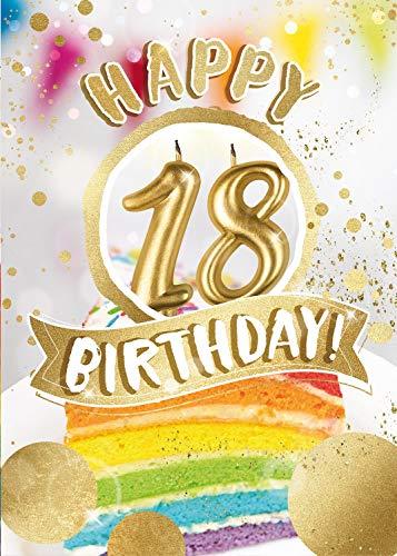 bentino Geburtstagskarte XL mit leuchtenden'KERZEN' zum AUSPUSTEN, Spielt den Song'Happy', DIN A4 Set mit Umschlag, Glückwunschkarte zum 18. Geburtstag, Grußkarte'Great Cards' von bentino