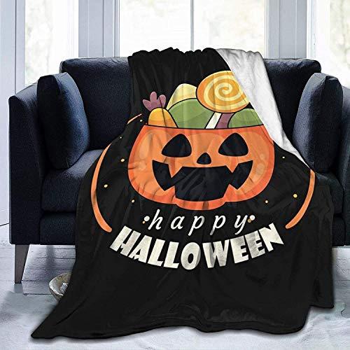 BettiCharm - Manta de forro polar, diseño de calabaza de Halloween Jack-O-Lantern Throw Sofá cama Living Room Soft Warm Anti-Ball Travel 20 x 160 cm, para adultos