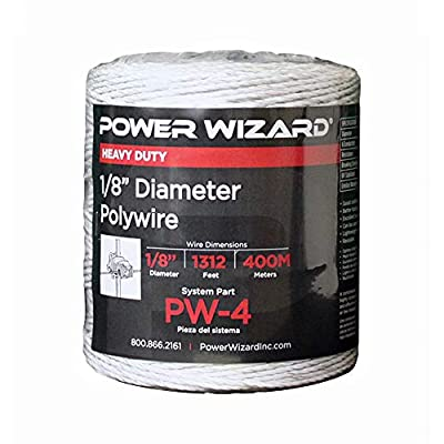 AgraTronix PW-4 Power Wizard Poly-Wire - 1312 ft. Electric Fence Wire with Tinned Copper and Stainless Steel Strands | Fencing Supplies