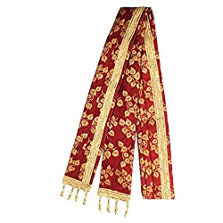 Amans Ethnic Fabric Men Sherwani Stole Dupatta Attractive Maroon & Golden Color Florel Print Design with Golden Stone Lace Decoration - 2.5 Mtr Length