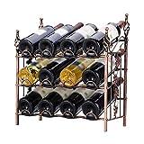 YFGQBCP botellero Rack de Vino apilable de 3 Niveles, Soporte de Almacenamiento de portaplacas for gabinetes de Vino - Sostenga 12 Botellas, Metal (Bronce)