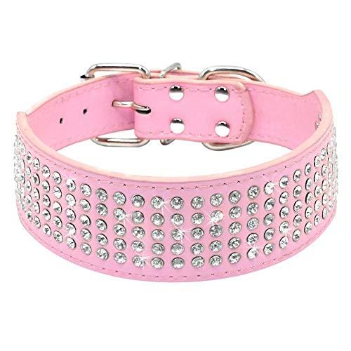 Beirui Collares de perro de 5 cm de ancho con 5 filas de diamantes de imitación, de piel sintética, para perros medianos y grandes, color rosa, L (cuello de 48 a 55 cm)