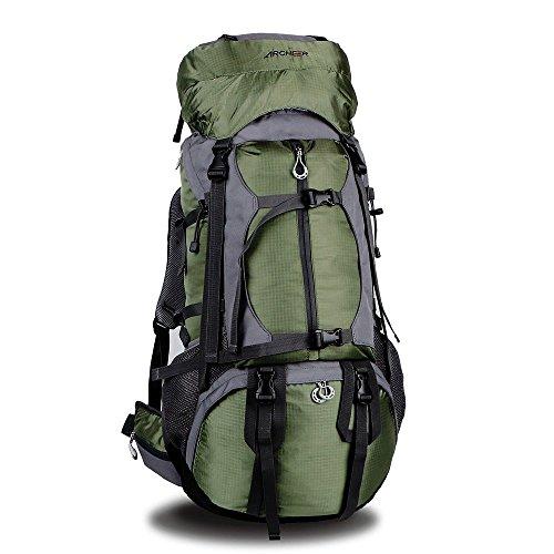 Zaino da Escursionismo,Archeer Zaino da Trekking Borsa Outdoor Impermeabile con Copertura Custodia Protezione ad Alta Capacità 55L+10L Borsa per Viaggio Multifunzione Ideale per Camping Alpinismo Arrampicata Equitazione Viaggio ,Verde