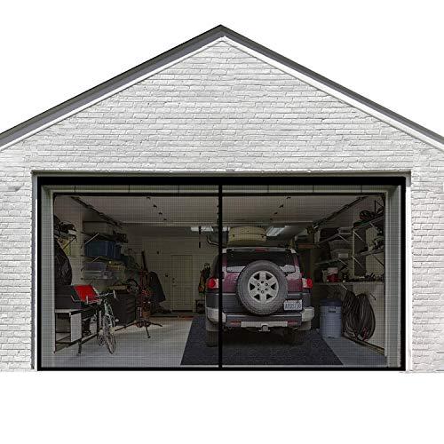 Garage Door Screen for 2 Car 16x7FT Garage Doors,Heavy Duty Upgrade Glass Fiber Door Screen Curtain for Garage Door,Hands Free Magnetic Screen Door (6 Strapping Tapes Include)