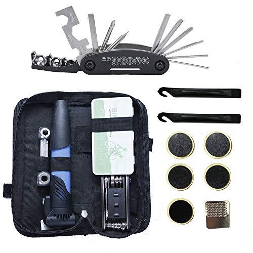 Daymi Multifunktions-Reparatursatz,16-in-1Fahrrad Reparatur Set, Mountainbike zubehör mit Fahrrad Reifenheber, Mini-Fahrradpumpe, Reifenflicken und Innensechskantschlüsseln