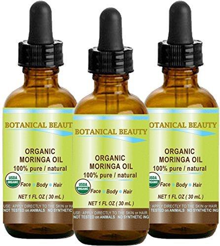 Botanical Beauty - Olio di Moringa certificato biologico, 100% puro/naturale/non diluito. 1 fl.oz.- 30 ml per la cura della pelle, dei capelli, delle labbra e delle...