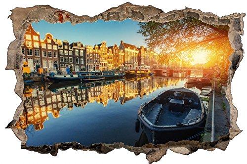 Amsterdam Stadt Kanal Boote Wandtattoo Wandsticker Wandaufkleber D0788 Größe 40 cm x 60 cm