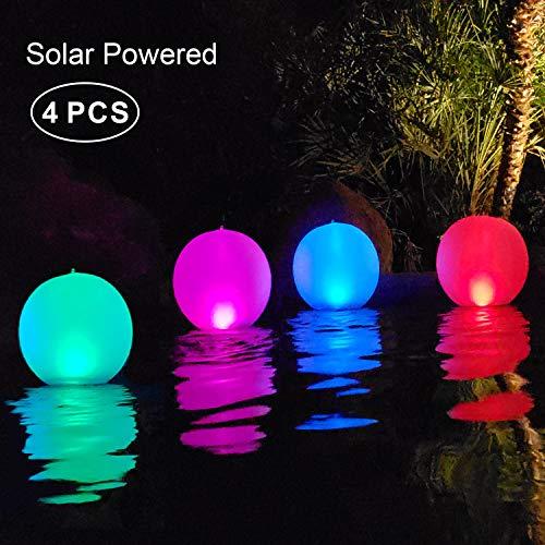 Solarlampen für außen,14'' LED Solar Gartenleuchte Kugel Schwimmkugel Wasserdichte IP68 LED Solarlichter Aufblasbare Solar Glow Globe Kugel Solarlampe/Außenleuchte/Gartenlampe/Kugelleuchte (4PCS)