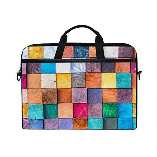 Laptop Sleeve Case,Laptop Bag,Colorful Grid Plaid Geometric Pattern Water Briefcase Messenger Notebook Computer Bag with Shoulder Strap Handle,28.5×38 CM/14 Inch
