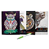 Adult Coloring Books Animal Theme for Stress and Relaxation   Nature and Animal Themed Coloring Books (4 Count) with a Pen