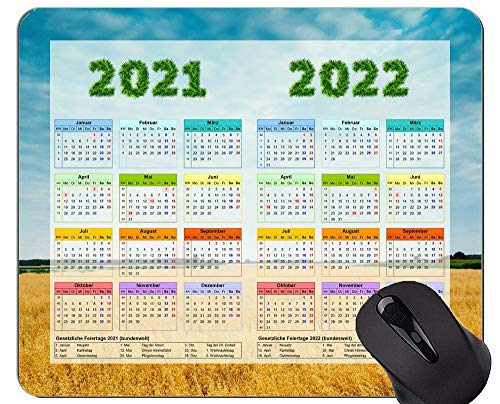 2021-2022 Calendar Mouse Pad Gaming Mouse Pad,Sky Field Agriculture Cornfield Mousepads