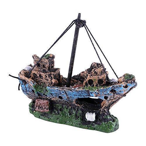 Decorazioni Acquario Artificiale Resina Barca Acquario Acqua Acquario paesaggistica Nave Pirata Tema